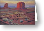 Giclee Pastels Greeting Cards - Sunset in Monument Valley Greeting Card by Donald Maier