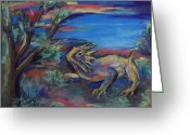Horned Lizard Greeting Cards - Sunset on the Mogollon Rim Greeting Card by Charles Wells