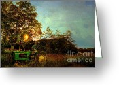 Shed Greeting Cards - Sunset on Tractor Greeting Card by Benanne Stiens