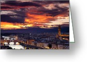 Medieval Architecture Greeting Cards - Sunset over Florence Greeting Card by Brian Jannsen