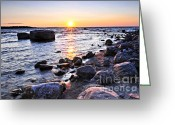 Pebbles Greeting Cards - Sunset over water Greeting Card by Elena Elisseeva
