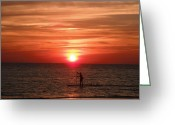 Gloaming Greeting Cards - Sunset Surfer Greeting Card by T C Creations
