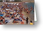 Suntan Greeting Cards - Super Paradise beach Greeting Card by George Atsametakis