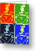 Superman Digital Prints Greeting Cards - Superman Taking It Off Greeting Card by Robert Margetts