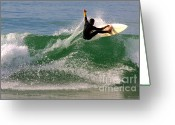Swell Greeting Cards - Surfer Greeting Card by Carlos Caetano