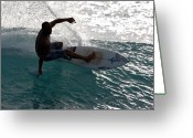 Surf Lifestyle Greeting Cards - Surfer Surfing the blue waves at Dumps Maui Hawaii Greeting Card by Pierre Leclerc