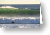Surf Lifestyle Greeting Cards - Surfing During A December Swell Greeting Card by Rich Reid