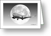 Gray-scale Greeting Cards - SW Moon Greeting Card by Brian Wallace