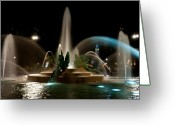 Logan Circle Greeting Cards - Swann Memorial Fountain Greeting Card by Louis Dallara