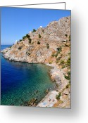Suntan Greeting Cards - Swimming in Hydra island Greeting Card by George Atsametakis