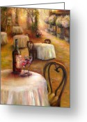 Wine For Two Greeting Cards - Table For Two Greeting Card by Bonnie Goedecke
