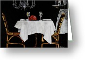 Wine For Two Greeting Cards - Table for Two Greeting Card by Vickie Warner