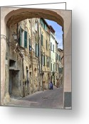 Clothesline Greeting Cards - Taggia in Liguria Greeting Card by Joana Kruse