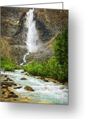 Cascade Greeting Cards - Takakkaw Falls waterfall in Yoho National Park Canada Greeting Card by Elena Elisseeva