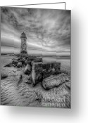 Sea Digital Art Greeting Cards - Talacre Lighthouse Greeting Card by Adrian Evans