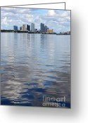 Bays Greeting Cards - Tampa Skyline over the Bay Greeting Card by Carol Groenen