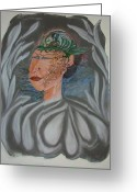 Facial Tattoo Art Pastels Greeting Cards - Tattoo You Greeting Card by Marian Hebert
