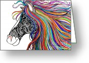 Colorful Drawings Greeting Cards - Tattooed Horse Greeting Card by Nick Gustafson