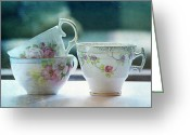 Textured Art Greeting Cards - Tea for Three Greeting Card by Bonnie Bruno