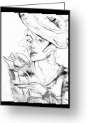 Tea Party Greeting Cards - Tea Party Girl Greeting Card by Anne-D Mejaki - Art About You productions