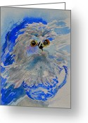 Pocket Painting Greeting Cards - Teacup Owl Greeting Card by Beverley Harper Tinsley