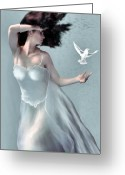Adult Painting Greeting Cards - Tempest - Goddess of the Wind Greeting Card by Corey Ford