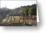 Romans Greeting Cards - Temple of Vesta Arch of Titus. Temple of Castor and Pollux. Forum Romanum Greeting Card by Bernard Jaubert