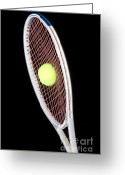 Sports Greeting Cards - Tennis Ball And Racket Greeting Card by Ted Kinsman