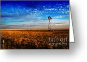 Rancher Greeting Cards - Texas Plains Windmill Greeting Card by Fred Lassmann