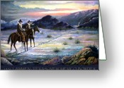 Lawmen Greeting Cards - Texas Rangers On His Trail POSTER Greeting Card by Donn Kay