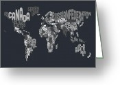 Text Greeting Cards - Text Map of the World Greeting Card by Michael Tompsett