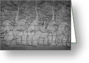 Design Reliefs Greeting Cards - Thai style handcraft of elephant Greeting Card by Phalakon Jaisangat
