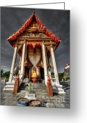Thailand Digital Art Greeting Cards - ThaI Temple Greeting Card by Adrian Evans