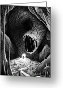 Cavern Drawings Greeting Cards - The abyss worm Greeting Card by Michael Brack