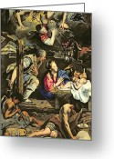 Shepherds Greeting Cards - The Adoration of the Shepherds Greeting Card by Fray Juan Batista Maino or Mayno