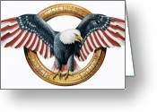 Stars And Stripes.   Greeting Cards - The American Eagle Greeting Card by Dag Peterson