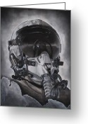 Jet Drawings Greeting Cards - The Aviator Greeting Card by Joe Dragt