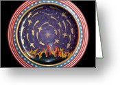 Iraq Ceramics Greeting Cards - The Baghdad meteoric shower. Greeting Card by Vladimir Shipelyov