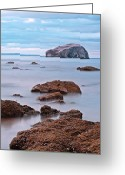 Sand And Sea Greeting Cards - The Bass Rock Greeting Card by Amanda Finan