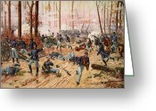 Landing Painting Greeting Cards - The Battle of Shiloh Greeting Card by Henry Alexander Ogden