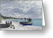 Shores Painting Greeting Cards - The Beach at Sainte Adresse Greeting Card by Claude Monet