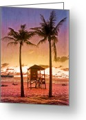 Florida Bridges Greeting Cards - The Beach Greeting Card by Debra and Dave Vanderlaan