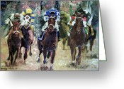Impressionist Mixed Media Greeting Cards - The Bets Are On Greeting Card by Anthony Falbo