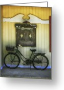 Antique Basket Greeting Cards - The Bicycle Greeting Card by Timothy Johnson
