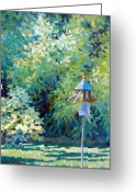 Fig Tree Greeting Cards - The Bird Feeder Greeting Card by Kevin Lawrence Leveque