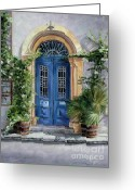 Illustrative Greeting Cards - The Blue Door Greeting Card by Theo Michael