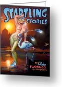 Pulp Greeting Cards - The Blue Flamingo Greeting Card by Patrick Anthony Pierson