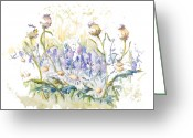Watercolor Flowers Prints Greeting Cards - The Blue Sound of the Bells Greeting Card by Elisabeta Hermann