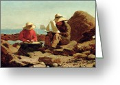 Costumes Painting Greeting Cards - The Boat Builders Greeting Card by Winslow Homer