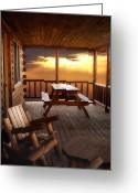 Log Cabins Photo Greeting Cards - The Cabin Greeting Card by Joann Vitali
